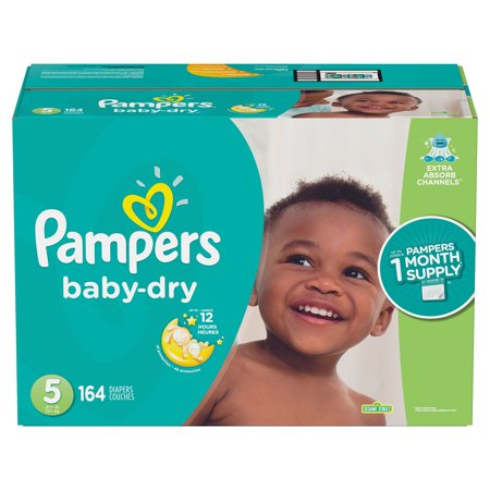 Pampers Baby-Dry Disposable Diapers Size 5, 164 Count,  ECONOMY PACK PLUS