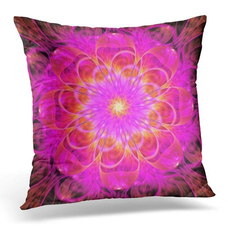 BOSDECO Black Blur Abstract Exotic Flower Psychedelic Mandala in Bright Pink and Orange Colors Fantasy Fractal 3D Pillowcase Pillow Cover Cushion Case 16x16 inch - image 1 de 1