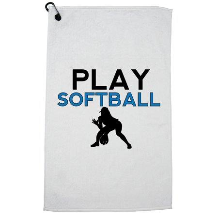 Softball Throwing Drills (Play Softball Silhouette Throwing Ball Very Trendy Golf Towel with Carabiner)