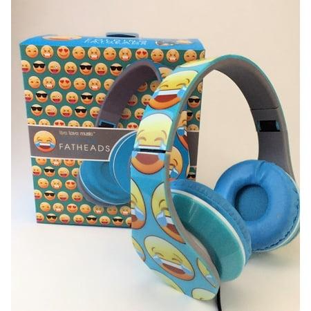 Emoji Folding Fatheads Stereo Headphones Laughing with Tears Face Blue (Laughing With Tears Emoji)