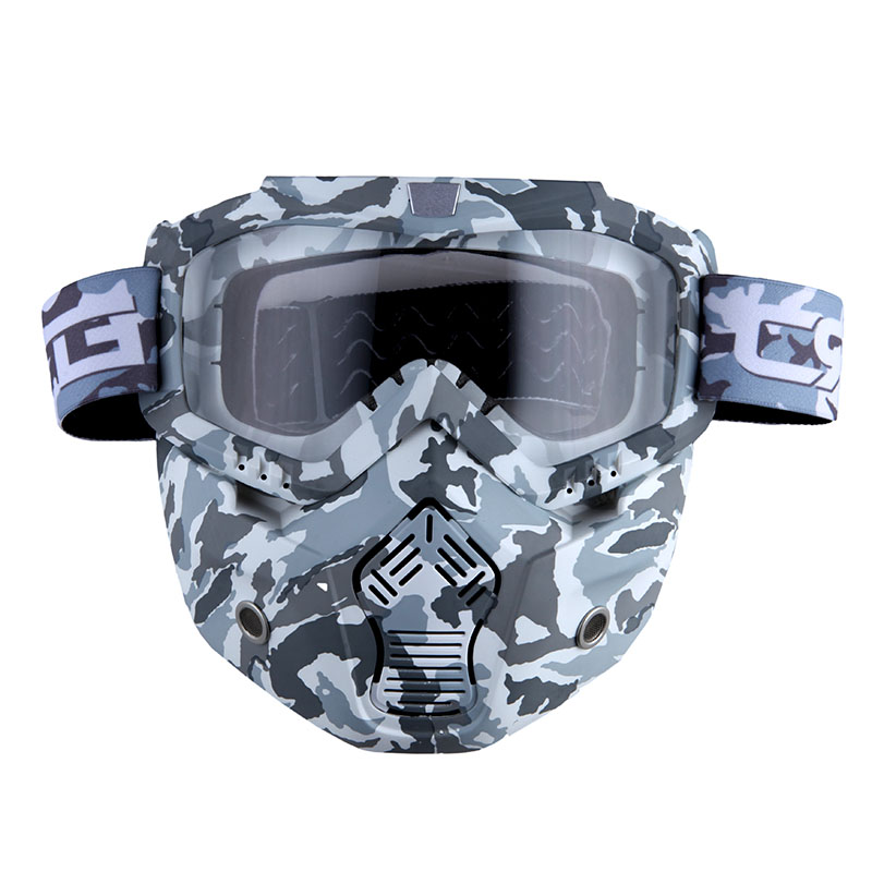 Motorcycle Goggles Mask, Detachable for Motocross Helmet Goggles use, Tactical Airsoft Goggles Mask: Gray Camo with... by