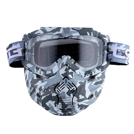 Motorcycle Goggles Mask, Detachable for Motocross Helmet Goggles use, Tactical Airsoft Goggles Mask: Gray Camo with Clear Lens ()
