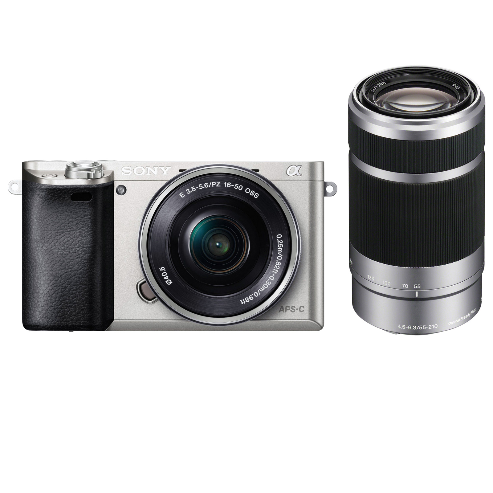 Sony Alpha A6000 Wi-Fi Digital Camera + 16-50mm Lens (Silver) with E-Mount 55-210mm f/4.5-6.3 OSS Zoom Lens
