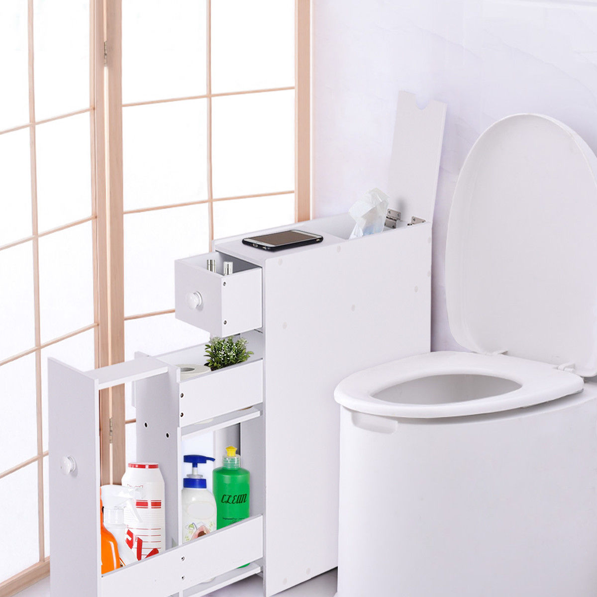 Costway Narrow Wood Floor Bathroom Storage Cabinet Holder Organizer Bath Toilet by Costway