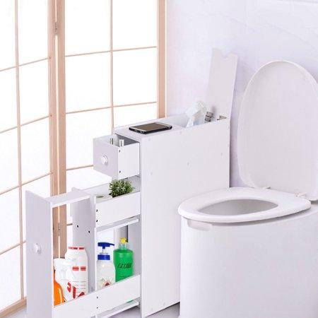costway narrow wood floor bathroom storage cabinet holder organizer bath toilet. Black Bedroom Furniture Sets. Home Design Ideas