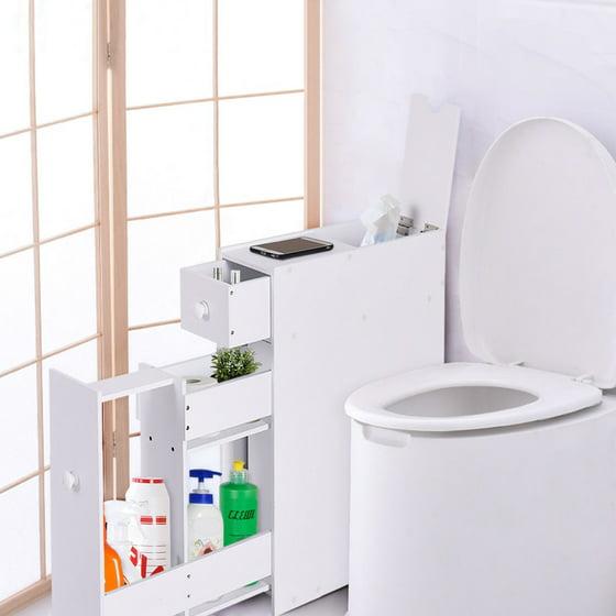 Costway Narrow Wood Floor Bathroom Storage Cabinet Holder Organizer Bath Toilet  Walmart.com