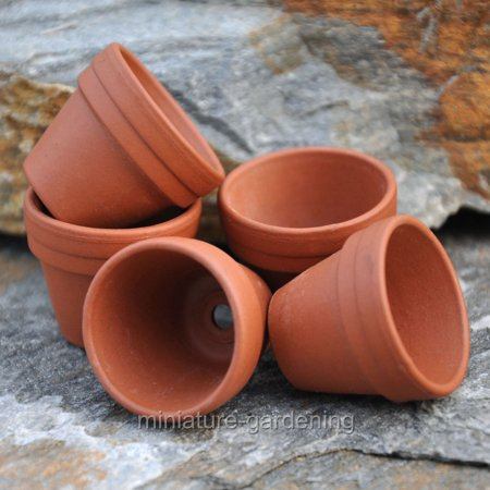 Terra Cotta Sand (Ceramo Company Tiny Terra Cotta Pots, 5 Piece Set for Miniature Garden, Fairy Garden )