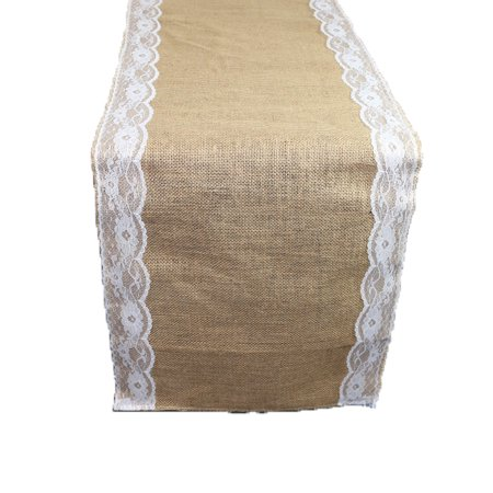 Your Chair Covers - 14 X 108 Inch Jute Burlap Table Runner with White Lace Edges