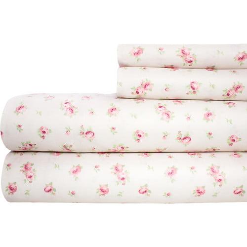 Amrapur Overseas Inc. Printed Sheet Set Sweet Rose Ivory
