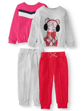Garanimals Toddler Girls' French Terry Banded Sweatshirts & Joggers, 4-Piece Set