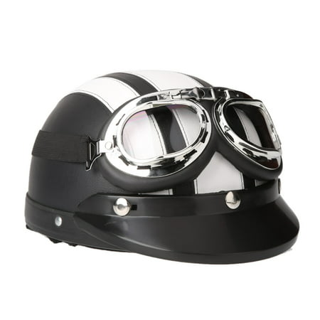 Motorcycle Scooter Open Face Half Leather Helmet with Visor UV Goggles
