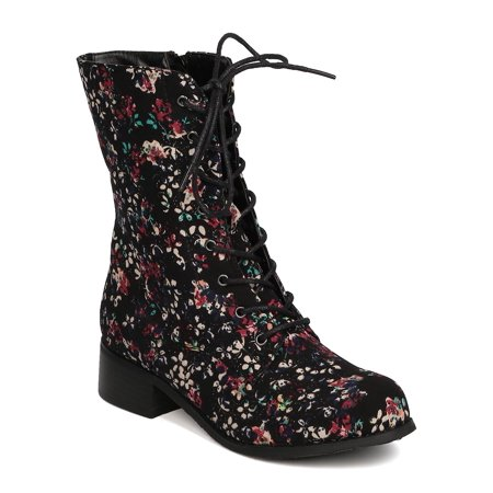 Women Floral Combat Boot - Casual Spring School - Military Bootie - GC77 by