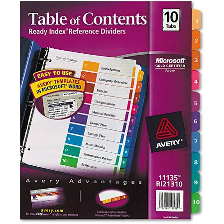 Avery ready index customizable table of contents for Avery table of contents template 10 tab