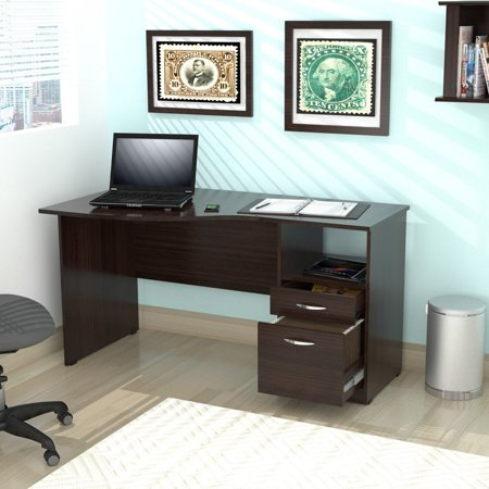 Inval Curved-Top Desk, Espresso-Wengue (Curved Desk Extension)