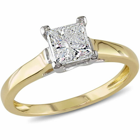 Miabella 1 Carat Princess-Cut Diamond 14kt 2-Tone Gold Solitaire Engagement Ring, IGL Certified