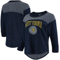 West Virginia Mountaineers Blue 84 Tri-Blend Terry Yoke 3/4-Sleeve T-Shirt - Navy
