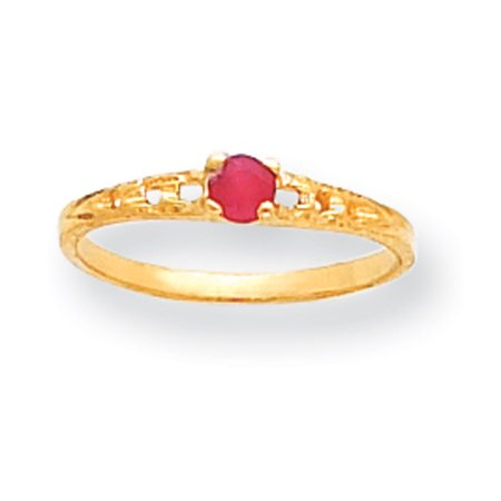 - 14k Yellow Gold 3mm Ruby Birthstone Baby Ring