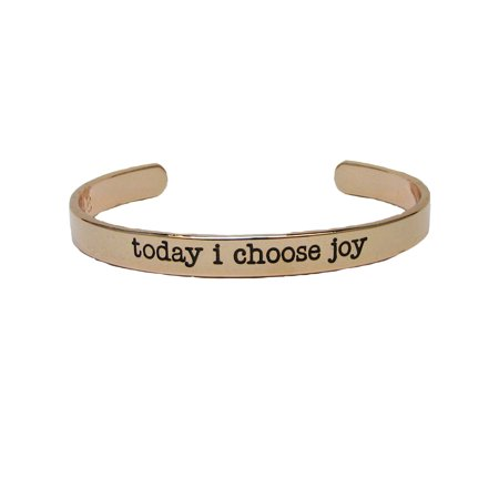 Today I Choose Joy Rose Gold Plated Cuff Bangle Bracelet Inspirational Stackable - Inspirational Bracelets