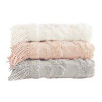 "Home Essence Mila 100 Percent Cotton Tufted Throw Blanket, 50""W x 60""L"