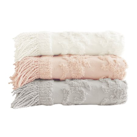 Home Essence Mila 100 Percent Cotton Tufted Throw Blanket, 50