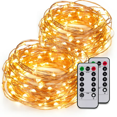 Kohree 2 Pack 60LEDs String Lights with Remote Control, AA Battery Powered on 20ft Long Copper Wire With Battery Box for $<!---->
