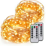 Kohree 2 Pack 60LEDs String Lights with Remote Control, AA Battery Powered on 20ft Long Copper Wire With Battery Box