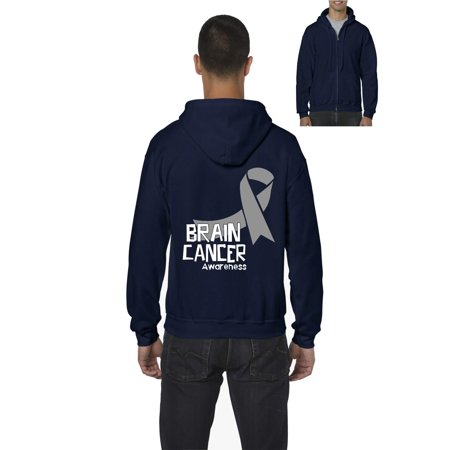 Brain Cancer Awareness Men's Full-Zip Hooded Sweatshirt Colon Cancer Hooded Sweatshirt
