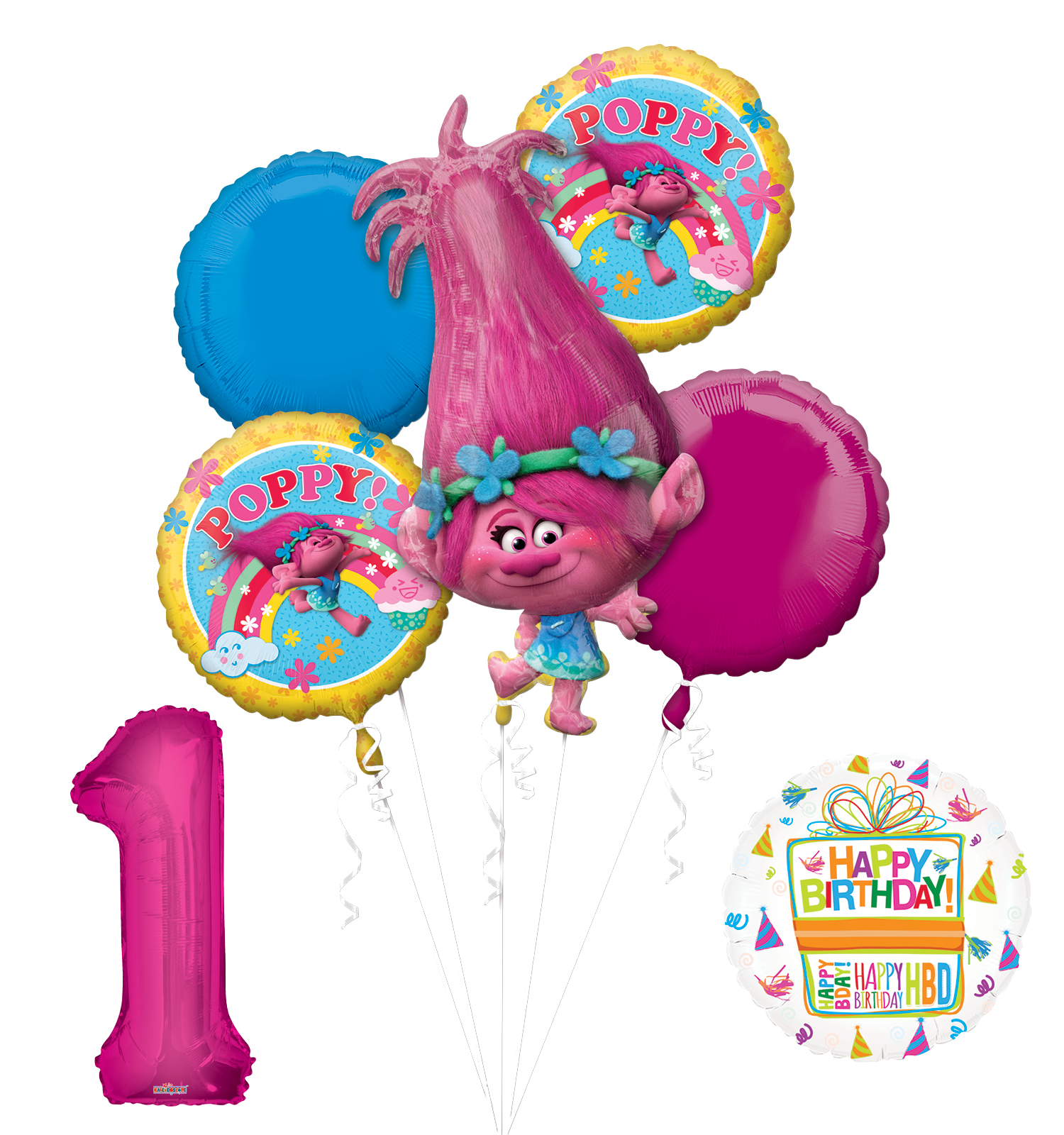 NEW TROLLS POPPY 1st Birthday Party Supplies And Balloon Bouquet Decorations