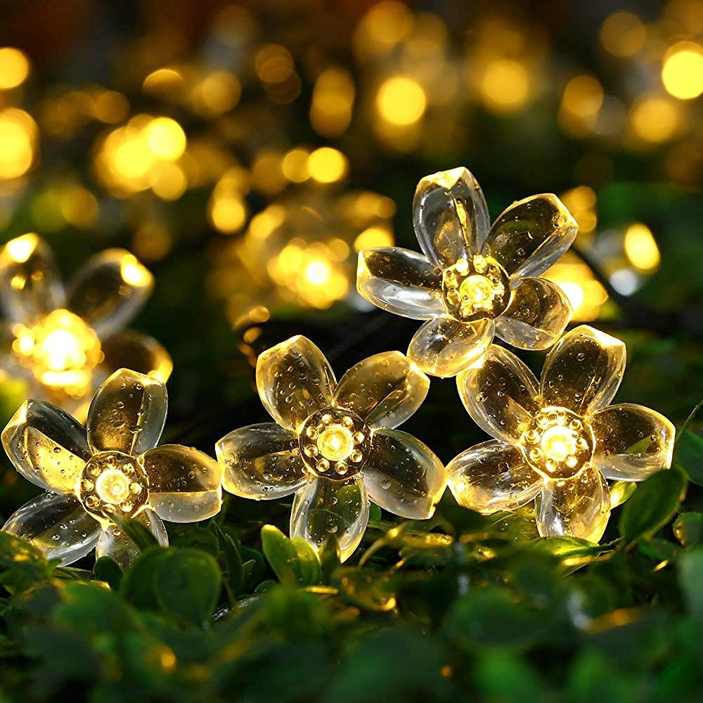 Qedertek Garden Solar String Lights,22.96ft 50 LED Solar Fairy Blossom Flower for Indoor/Outdoor,Patio,Lawn,Garden,Christmas,and Holiday Festivals Decorative Lights (Warm White)