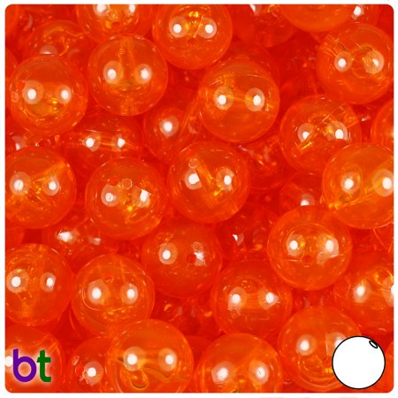 BeadTin Orange Transparent 14mm Round Plastic Beads (36pcs)