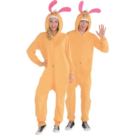 Ren And Stimpy Costumes (Amscan The Ren and Stimpy Show Zipster Ren One Piece Halloween Costume for Adults, Large/Extra Large,)