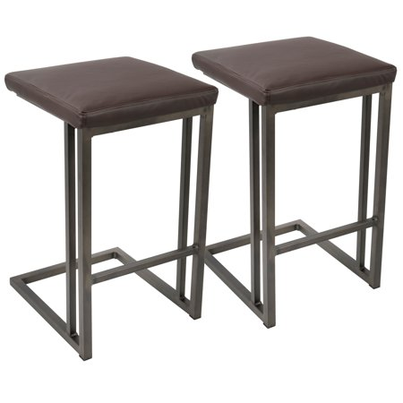 Roman Industrial Counter Stool in Antique and Espresso Faux Leather by LumiSource - Set of 2