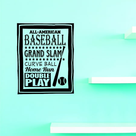 Slam It (Do It Yourself Wall Decal Sticker All American Baseball Grand Slam Curve Ball Home Run Double Play Sign Childrens Bedroom)