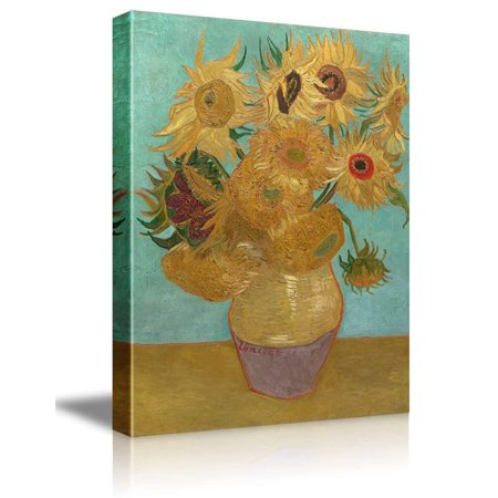 wall26 The Sunflowers by Vincent Van Gogh - Oil Painting Reproduction on Canvas Prints Wall Art, Ready to Hang - 32