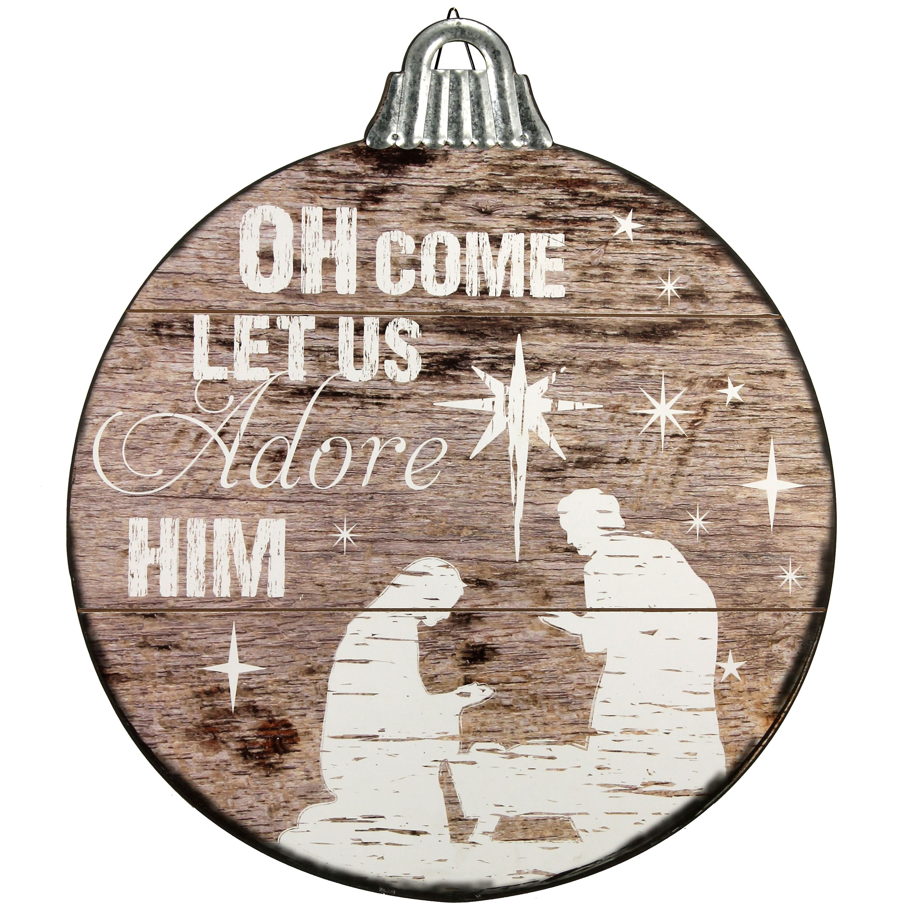 Holiday Time Nativity Distressed Wood Sign, 21 by 24 Inches