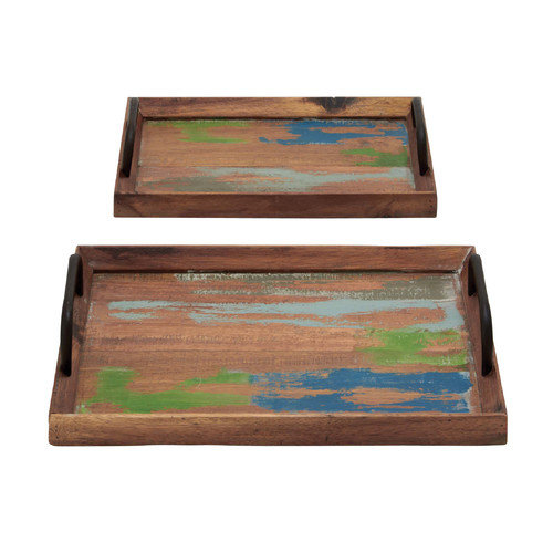 Woodland Imports 2 Piece Germanic Serving Tray Set