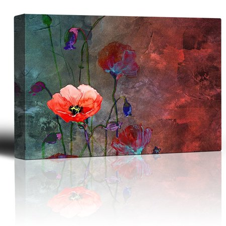 wall26 - Poppy Flowers Artwork over a Blue and Red Picture with Abstract Painting Background - Giclee Prints Canvas Wall Art Modern Home Decor | Stretched Gallery Wrap Ready to Hang - 24x36 (Best Way To Hang Paintings)