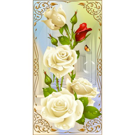 DIY 5D Diamond Mosaic White Rose Resin With Full Painting Cross Stitch Kits Diamonds Embroidery Home (Mosaic Rose Wall Cross)
