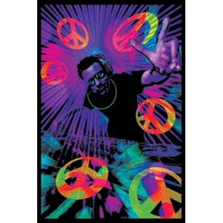 Halloween Dj Poster (DJ Peace Signs Blacklight Poster Print Blacklight Poster -)