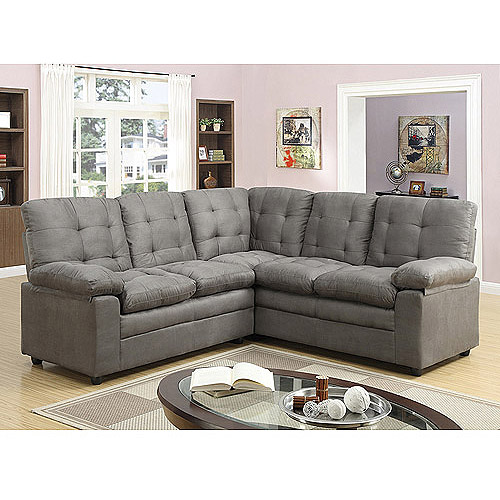 Buchannan Microfiber Corner Sectional Sofa Grey