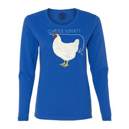 f44f212ba46a Custom Apparel R Us - Guess What Chicken Butt Funny Saying Womens Graphic  Tees Long Sleeve T Shirt - Walmart.com