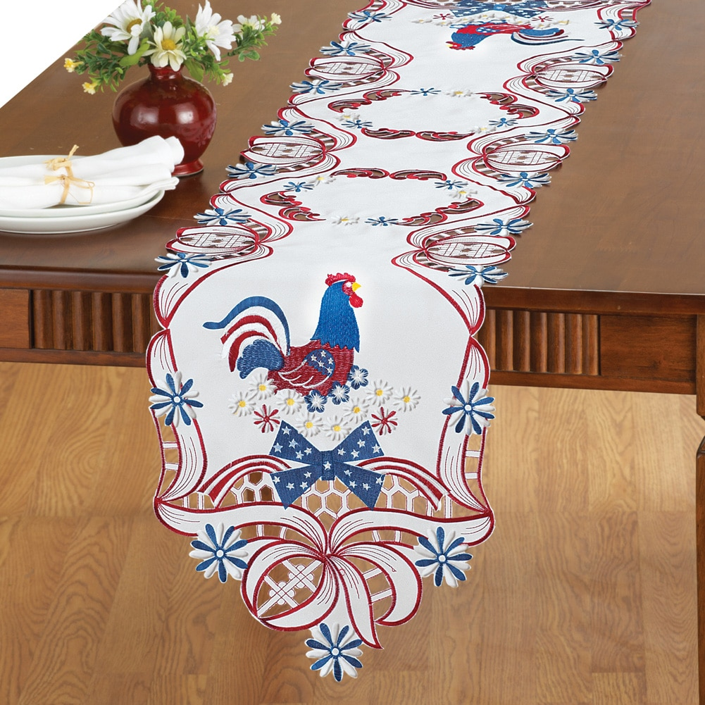 Embroidered Patriotic Rooster Table Linens, Square by Collections Etc