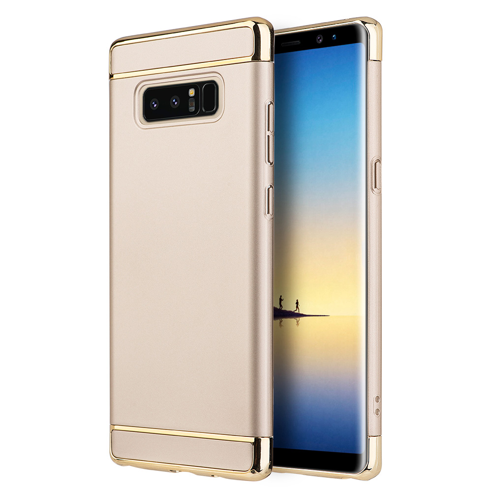 Samsung Galaxy Case, Premium Luxury Rubberized 3-in 1 Slim Fit Protective Back Case with Chrome Frame Samsung Galaxy Note 8 - Gold,Raised Bezels, Slim, ShockProof