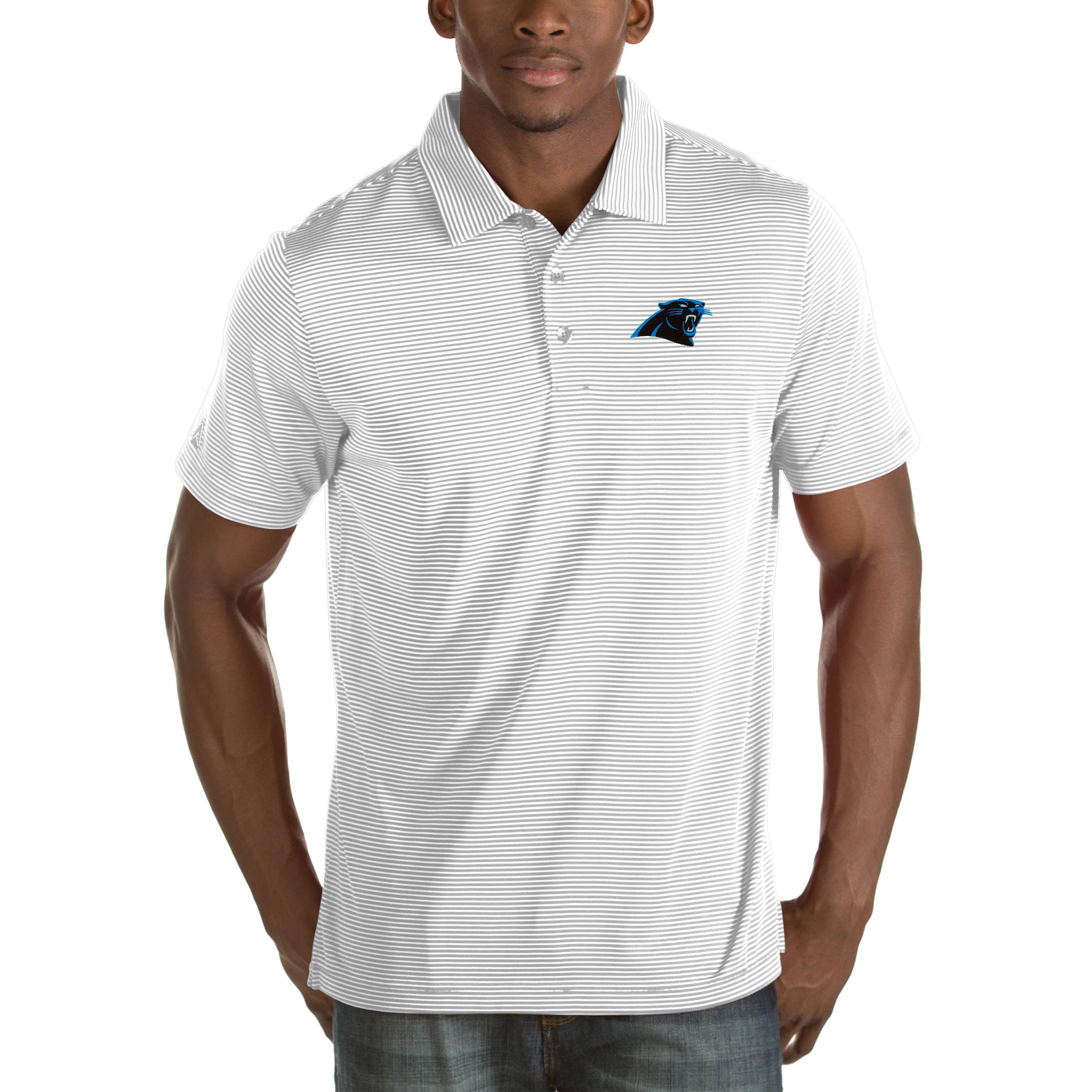 Carolina Panthers Antigua Quest Big & Tall Polo - White
