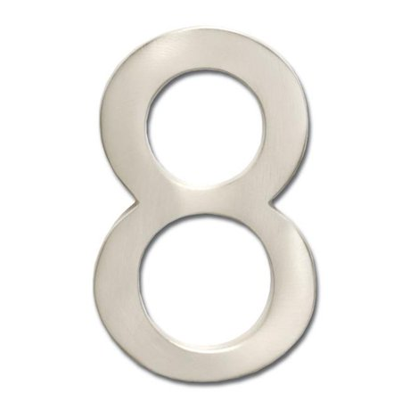 Architectural mailboxes 3582sn number 8 solid cast brass 4 inch floating house number satin nickel 8