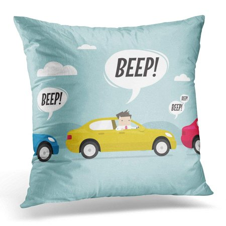 CMFUN Car Businessman on The Road with Traffic Jam Honk Horn Beep Pillow Case Pillow Cover 20x20