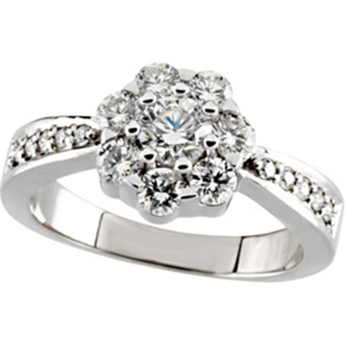 1 1/5ct Pave Accent Diamond Engagement Ring White Gold