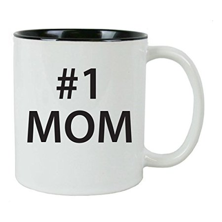 #1 Mom 11 oz White Ceramic Coffee Mug (Black) with Gift Box - Great Gift for Mothers