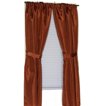 Royal Bath 100% Polyester Fabric Window Curtain With Two Panels And Two Tie Backs In Spice, Size 54 Wide X 34 Long ()