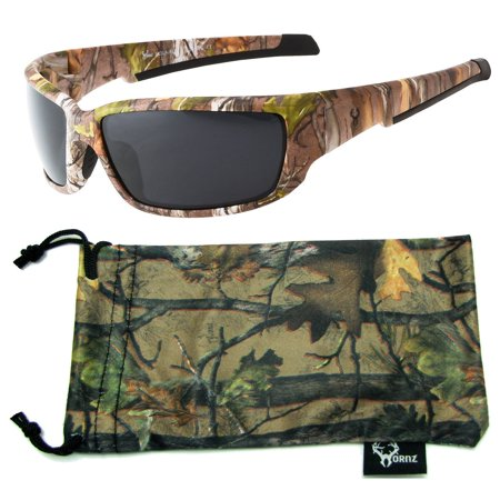 Hornz Brown Forest Camouflage Polarized Sunglasses for Men Full Frame Strong Arms & Free Matching Microfiber Pouch - Brown Camo Frame - Smoke (Arms Mens Sunglasses)